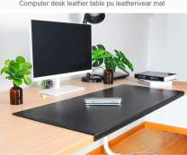 """BUBM Non-Slip Soft PU Leather Surface Office Desk Mouse Mat Pad with Full Grip Fixation Lip Table Blotter Protector 35.4""""x 15.8"""" Leather Mat Edge-Locked(Black)"""
