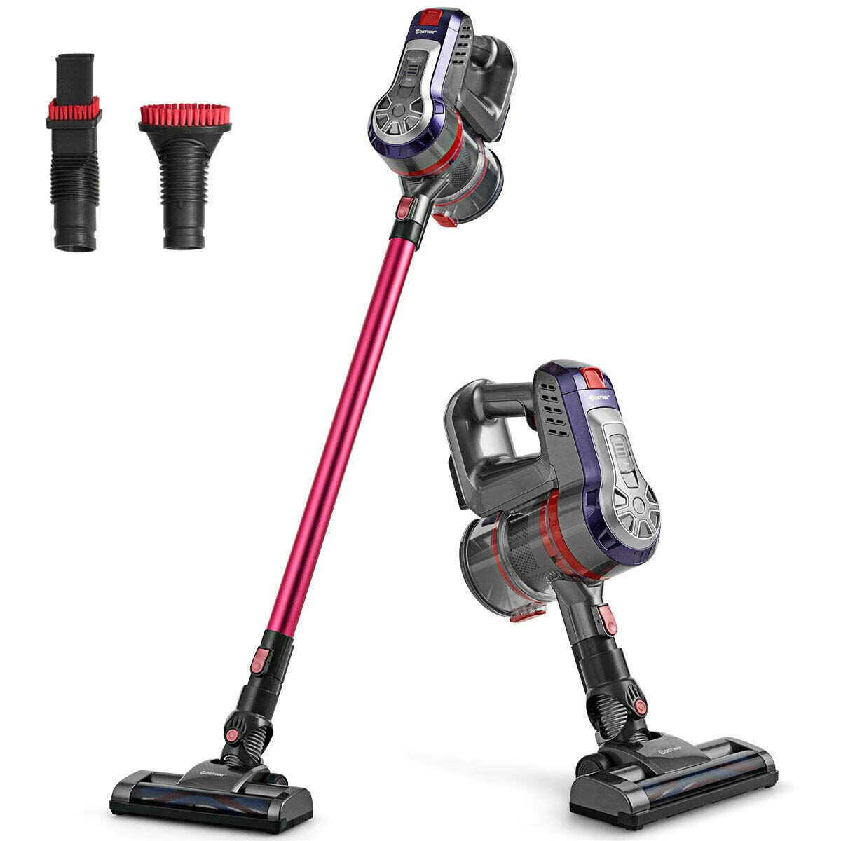 COSTWAY 16KPa Cordless Bagless Vacuum Cleaner, Lightweight Stick Handheld Vacuum with HEPA Filtration and Brushless Motor, Detachable Lithium Battery Rechargeable Ideal for Pet Hair Home Hard Floor