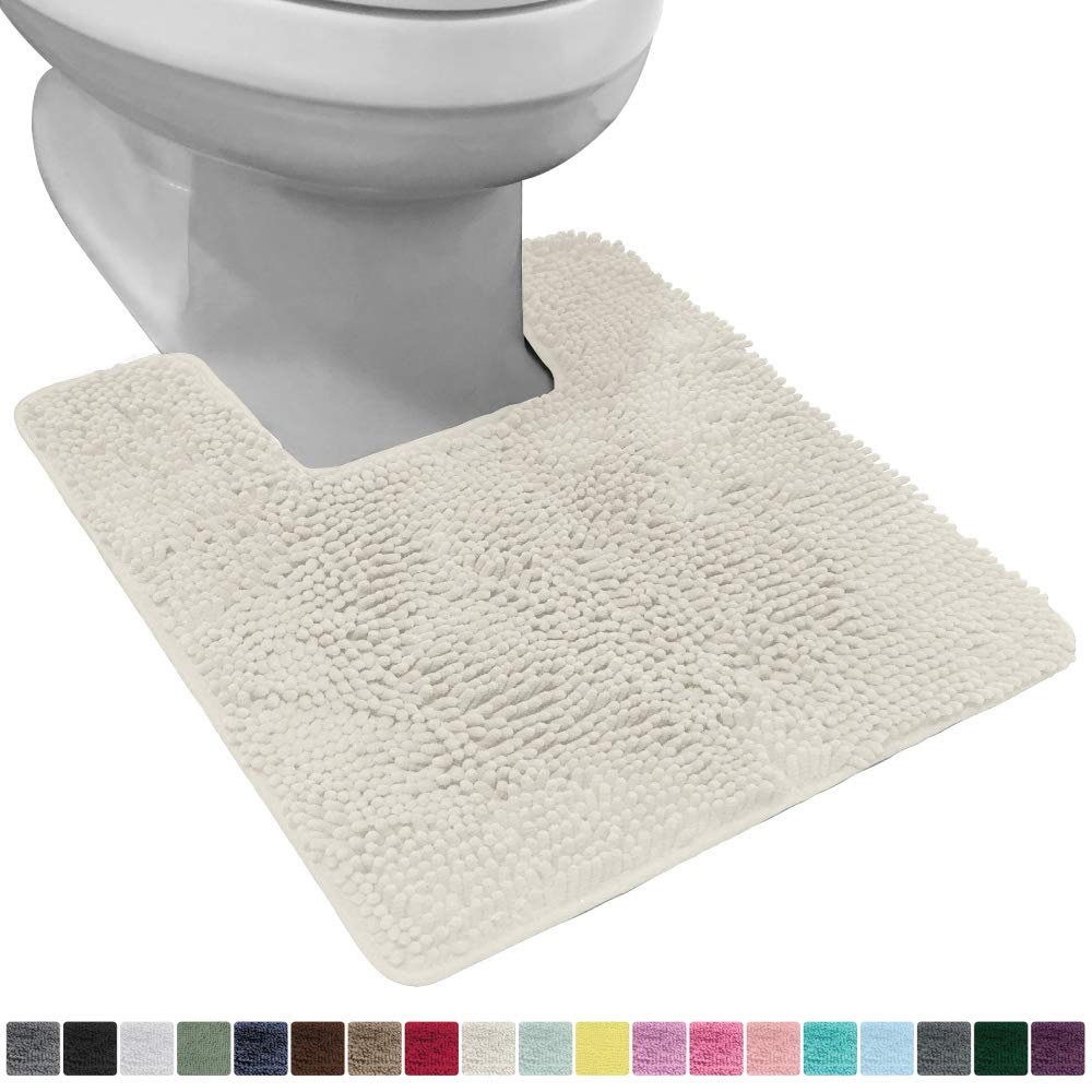 Gorilla Grip Original Shaggy Chenille Square U-Shape Contoured Mat for Base of Toilet, 22.5x19.5 Size, Machine Wash and Dry, Soft Plush Absorbent Contour Carpet Mats for Bathroom Toilets, Ivory Cream