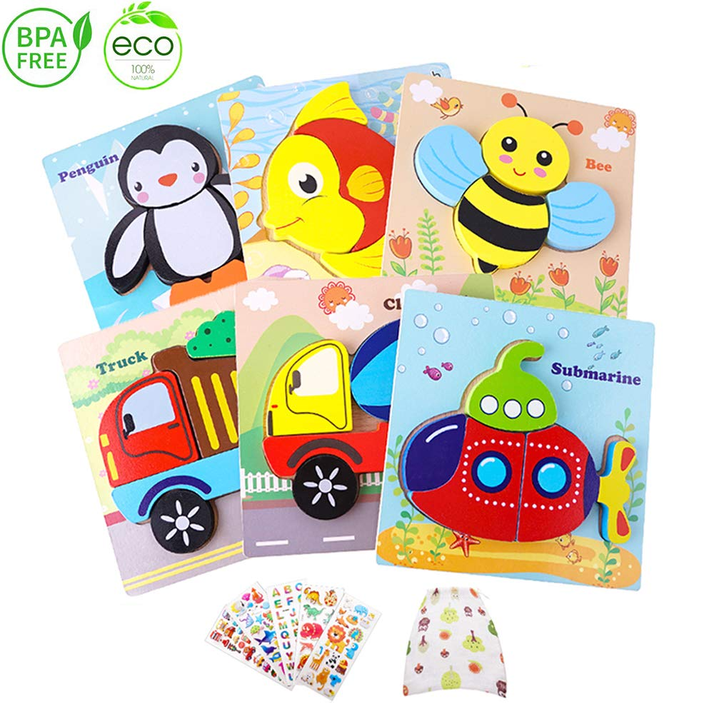 Wooden Animal Jigsaw Puzzles for Toddlers 1 2 3 Years Old, Boys &Girls Educational Toys Gift with 6 Patterns(Animal & Vehicle)