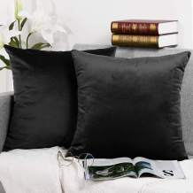 Velvet Decorative Throw Pillow Covers Set Soild Color Cushion Case Square Soft Pillowcase for Couch 18 x 18 inch Pack of 2