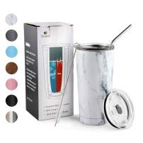 20oz Tumbler with Lid and Straw Stainless Steel Insulated Travel Coffee Mug Power Coated Thermal Cup White Marble