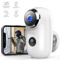 Victure 1080P Outdoor Camera Wireless Rechargeable Battery Powered Home Security WiFi Camera with IP65 Waterproof PIR Motion Detection 2-Way Audio and Night Vision Cloud Storage/SD Slot