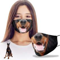 VTH Global Funny 3D Doberman Dobermann Dog Mom Dad Reusable Washable Face Mask Women Men for Dust Protection