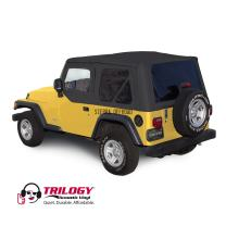 Compatible with 2003-2006 Jeep Wrangler (excluding Unlimited), Trilogy Acoustic Vinyl Soft Top with Upper Door Skins, Black