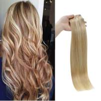 Full Shine Halo Hair Extensions 14 Inch Real Hair Fish Wire Extensions 70 Grams Color 27 Honey Blonde Highlight With Color 613 Blonde Real Remy Human Hair Invisible Wire Hair For Women