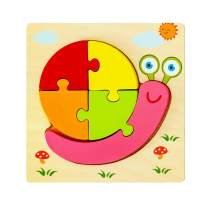 Wooden Snail Puzzles for Toddlers Kids 1 2 3 Years Old, Unique Chunky Animal Puzzle with Board - Preschool Educational Toys Gift for Boys and Girls.(1 Pack)