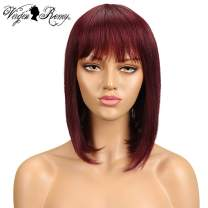 QVR Straight Human Hair Wigs with Bangs Short Bob Burgundy Red Color Wigs for Black Women Remy Hair Wigs 10 inch Brazilian Straight Hair Wigs for African Americans 99J