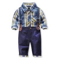 Uinolo Baby Boy 2 Pieces Clothes Suits Shirts + Suspenders Pants Rompers Jumpsuits Set