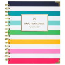 """Academic Planner 2020-2021, Simplified For At-A-Glance Weekly & Monthly Planner, 7"""" x 9"""", Medium, Hardcover, Happy Stripe (EL400-805A), Model:EL400-805A-21"""