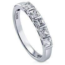 BERRICLE Rhodium Plated Sterling Silver Princess Cut Cubic Zirconia CZ 5-Stone Anniversary Wedding Band