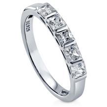BERRICLE Rhodium Plated Sterling Silver Princess Cut Cubic Zirconia CZ 5-Stone Anniversary Wedding Band