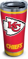 Tervis NFL Kansas City Chiefs - Touchdown Stainless Steel Insulated Tumbler with Clear and Black Hammer Lid, 20 oz, Silver