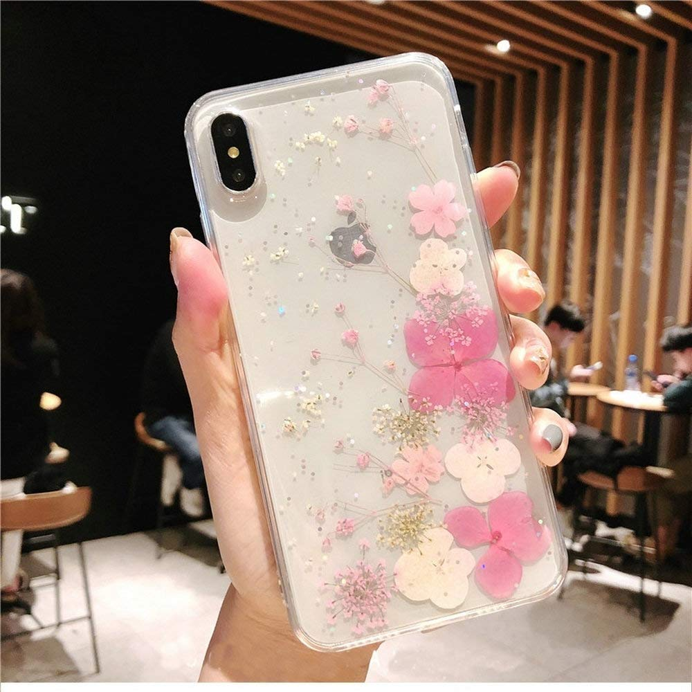 iPhone X/XS Case with Flowers, JANDM Handmade Pressed Dried Real Flowers Soft Silicone Girls' Crystal Glitters Case for iPhone Xs/iPhone X-Pink