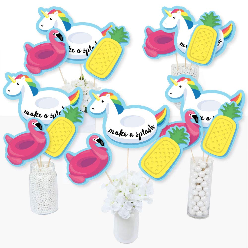 Big Dot of Happiness Make a Splash - Pool Party - Summer Swimming Party or Birthday Party Centerpiece Sticks - Table Toppers - Set of 15