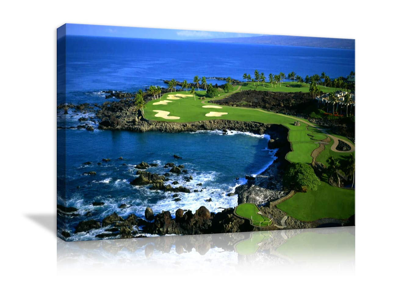 AMEMNY Modern Golf Course Landscape Painting Canvas Wall Art Posters and Clear Water Bule Sky Landscape Artwork HD Prints Pictures Decor for Living Room Framed Stretched Ready to Hang(36''Wx24''H)