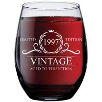 24th Birthday Gifts for Women Men - 1997 Vintage 15 oz Stemless Wine Glass - 24 Year Old Wine Gifts for Wine Lovers - Wine Lover Gifts for Women Men - Wine Accessories - Happy Birthday Funny Wine Cups