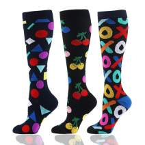 HLTPRO Compression Socks (20-30 mmHg) for Men & Women - 3 Pairs Best Stockings for Running, Flight, Travel, Nurses