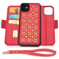 Jasilon iPhone 11 Case 6.1'' 2019, [Magnet Detachable] Luxury Leather Wallet case with [Card Holder, Strap, Kickstand], Flip Folio iPhone 11 Phone Case for Women-Red