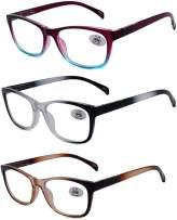 Amillet Reading Glasses 3 Pack Readers Spring Hinge Eyeglasses,Computer Reading/Gaming/TV/Phones Glasses for Women Men +1.00