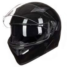 Auboa Modular Motorcycle Helmet for Men Women with 2 Visors, Full Face Helmets for Adults Motorcycle DOT (Glossy Black, S)