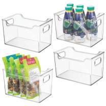 "mDesign Plastic Kitchen Pantry Cabinet, Refrigerator or Freezer Food Storage Bins with Handles - Organizer for Fruit, Yogurt, Snacks, Pasta - BPA Free, 10"" Long, 4 Pack - Clear"