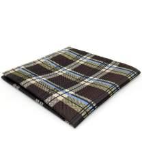 SHLAX&WING Checkered Tartan Brown New Design Handkerchief Silk Pocket Square
