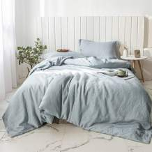 Simple&Opulence 100% Linen Duvet Cover Set 3pcs Stone Washed Natural French Flax Basic Style Solid Color Bedding with Button Closure (Queen, Dusty Blue)