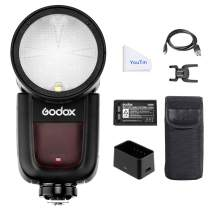 Godox V1F Round Flash Kit for Fuji Fujifilm - 2.4G HSS 1/8000S TTL Round Head On Camera Flash Speedlight, 1.5sec Recycle Time, 2600mAh Lithium Battery, 480 Full Power Flashes