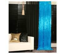 ShinyBeauty Sparkle Backdrop Curtain Aqua 2 Panels Set Sequin Photo Backdrop Turquoise 2FTx8FT Sequin Backdrop Curtain Aqua Blue Pack of 2-1220S