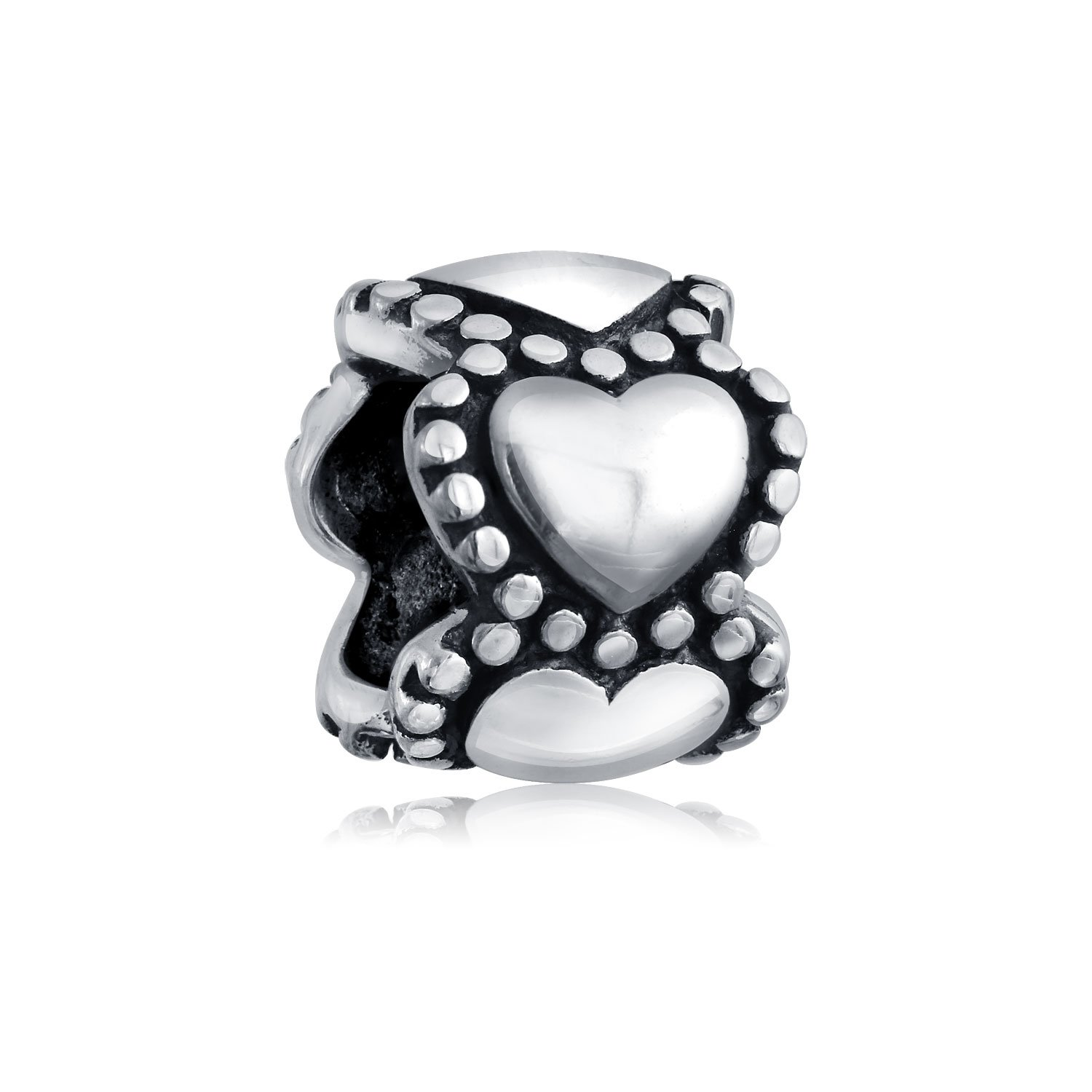 Eternity Heart Spacer Bead Charm For Women For Teen For Girlfriend Oxidized 925 Sterling Silver Fits European Bracelet