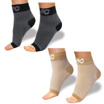 ACTINPUT Compression Foot Sleeves for Men & Women - Best Plantar Fasciitis Socks with Arch Support (Black+Nude, Small)