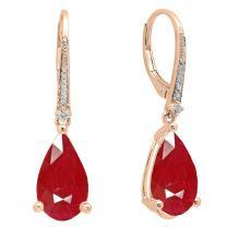 Dazzlingrock Collection 14K 14X8 MM Each Pear Lab Created Gemstone & Round White Diamond Teardrop Dangling Drop Earrings, Rose Gold