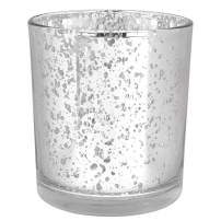 Just Artifacts 3-Inch Speckled Mercury Glass Votive Candle Holder (1pc, Silver)