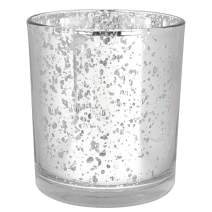 Just Artifacts Mercury Glass Votive Candle Holders 3-Inch Speckled Silver (Set of 25) - Mercury Glass Votive Candle Holders for Weddings and Home Décor