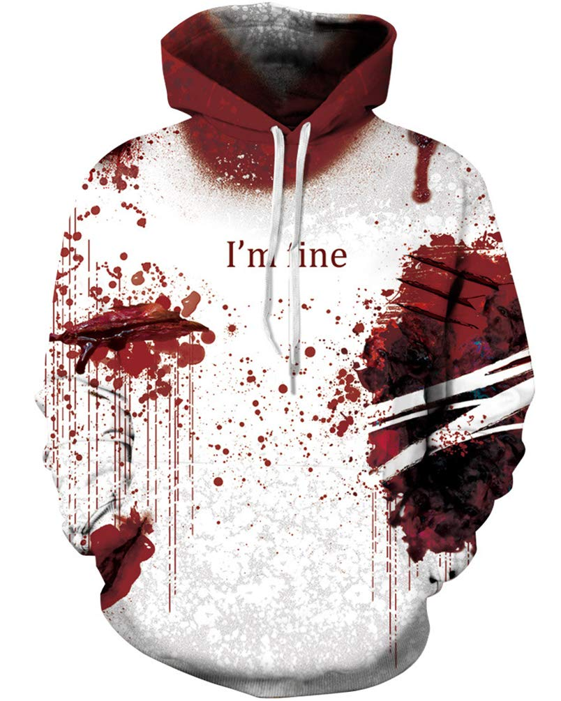 OWMMIZ Unisex Hoodies Novelty Print 3D Patternv Hooded Pullover Sweatshirt with Pocket