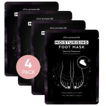 Elixir Korean Foot Mask - Moisturizing Spa Treatment for Baby Soft Feet - Booties Fit Women & Men - Best Moisturizer for Dry Heels (4 Pack)