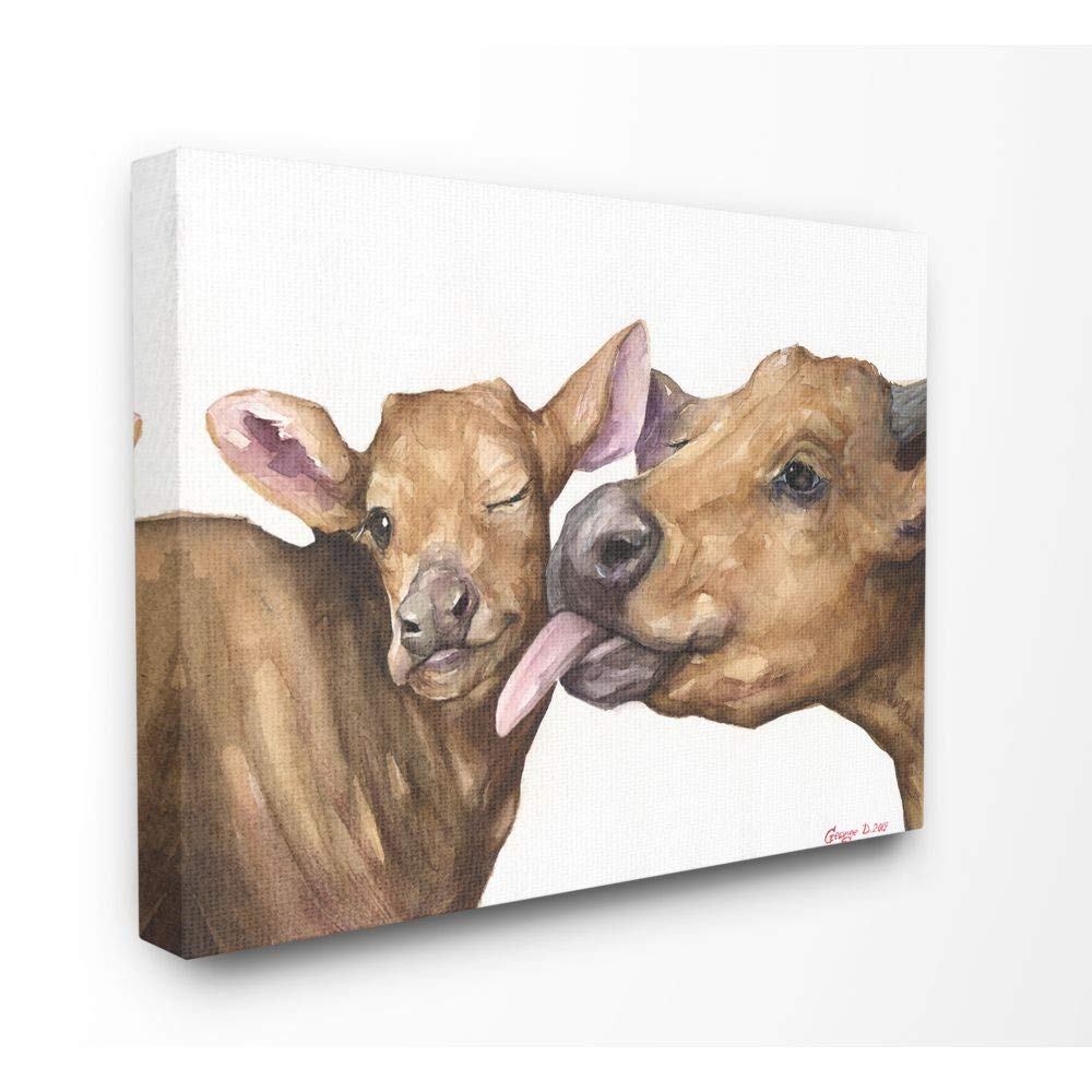 Stupell Industries Baby Cow Family Animal Watercolor Painting Canvas Wall Art, 24 x 30, Multi-Color