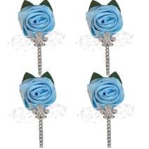 WIFELAI-A Satin Flower Lapel Pin Diamond Wedding Boutonniere Handmade Wedding Brooch Buttonhole Grooms Boutonnieres XH0677Y (Baby Blue, 4)