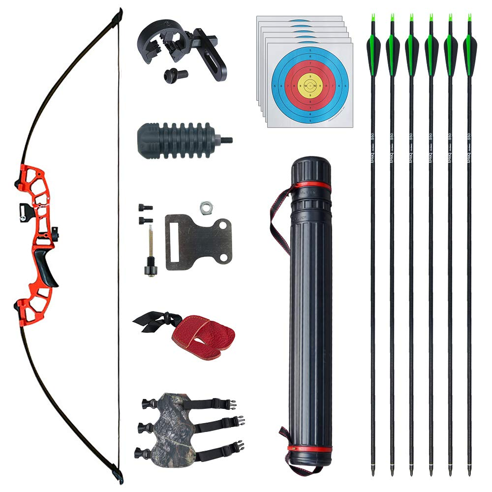 """D&Q 51"""" Archery Takedown Recurve Bow and Arrow Set 30lb/40lb Right Hand Longbow Kit for Adult Beginner Outdoor Training Hunting Shooting"""
