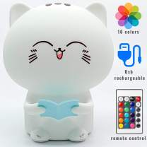 LED Cat Night Light for Kids: Portable Silicone Cat Lamp with Remote Control, Battery Operated Kitty Night Light, Cute Toddler Night Light for Boys & Girls with Touch Sensor and Voice Recording