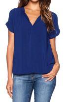 LILBETTER Women Chiffon Blouse V Neck Short Sleeve Top Shirts