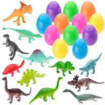 XADP 12 Pack Toys Filled Easter Eggs Plastic Prefilled with 12 Different Dinosaurs Easter Basket Stuffer for Kids Easter Egg Hunt Party Favors