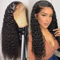 13x6 Lace Front Human Hair Wigs Wet Wavy 150% Density For Women Natural Black Brazilian Remy Hair Curly Glueless Top Lace Wigs Pre Plucked With Baby Hair (16 inch with 150% density)