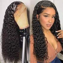 Full Lace Human Hair Wigs Wet Wavy 150% Density For Women Natural Black Brazilian Remy Hair Curly Glueless Top Lace Wigs Pre Plucked With Baby Hair (8 inch with 150% density)