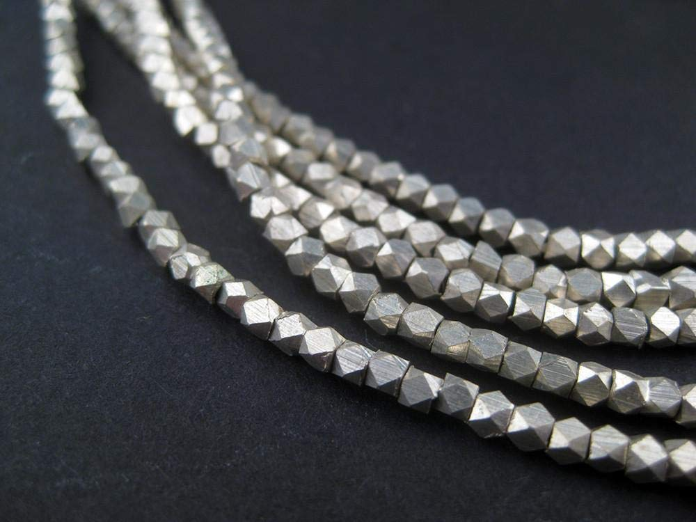 Cornerless Cube Beads - Full Strand of Faceted Ethnic Metal Spacers - The Bead Chest (2mm, Silver)