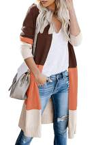 Womens Boho Long Sleeve Open Front Cardigan Color Block Loose Knit Lightweight Sweaters