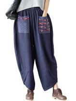 Minibee Women's Baggy Linen Wide Leg Trousers Casual Patchwark Elastic Waist Harem Pants