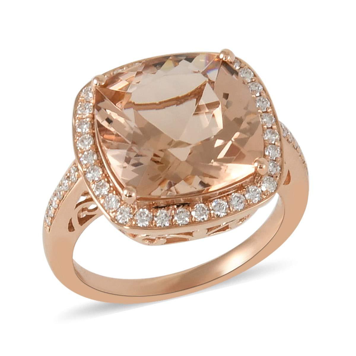 ILIANA 18K Rose Gold AAA Premium Morganite Diamond Bridal Wedding Anniversary Engagement Halo Ring Gift Jewelry for Women Ct 5.5 G-H Color SI1