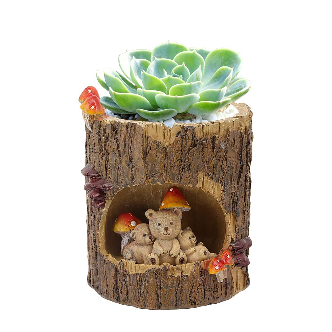 Naimo Tree Hole Series Resin Succulent Plant Pot Cactus Plant Pot Flower Pot Container Home Decor (Bear-Medium)